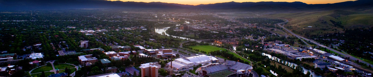 Overlooking campus and Missoula at sunset.