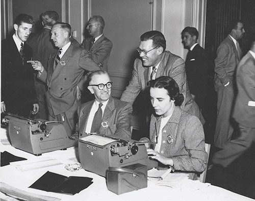 Dorothy Powers in the press room
